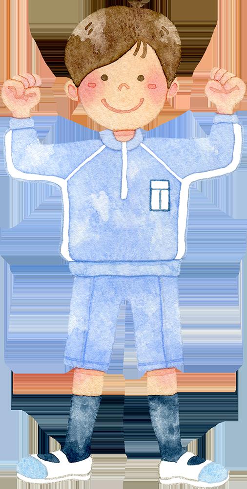 ①体操着を着てガッツポーズをする男の子の水彩イラスト