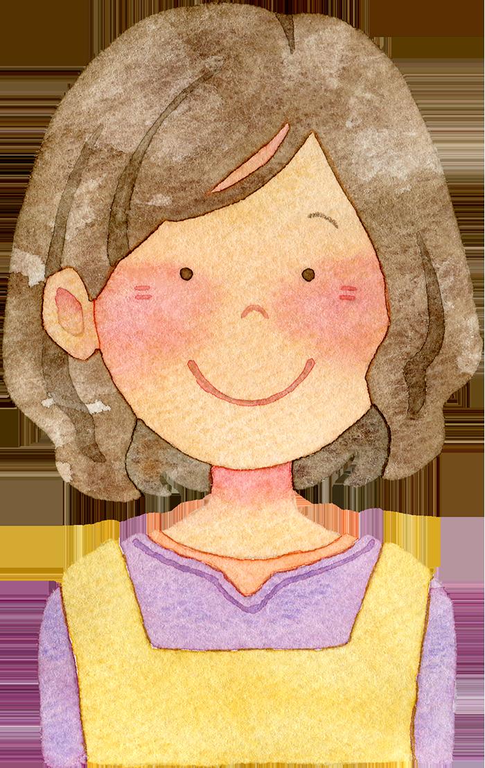 ①微笑む主婦の水彩イラスト