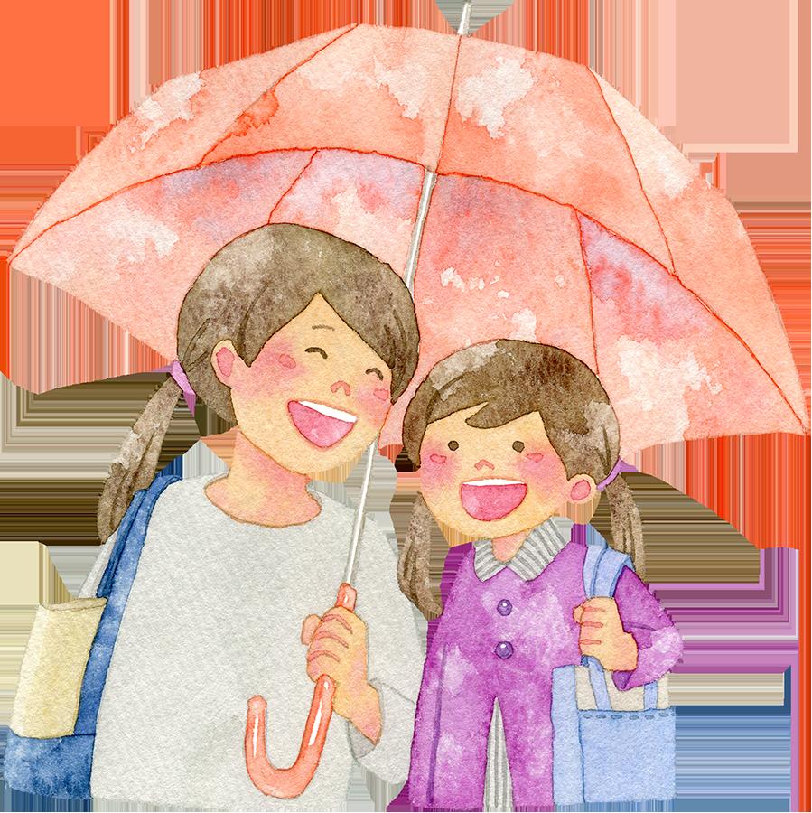 傘を差す親子の水彩イラスト