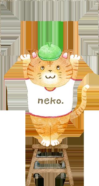カードを持つ猫の水彩イラスト