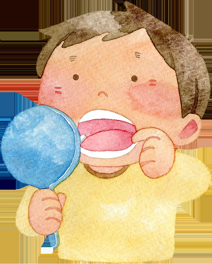 手鏡で口の中を見る男の子の水彩イラスト