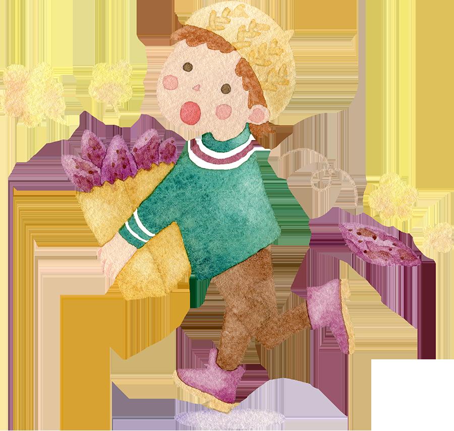 紙袋いっぱいの焼き芋を持つ男の子の水彩イラスト