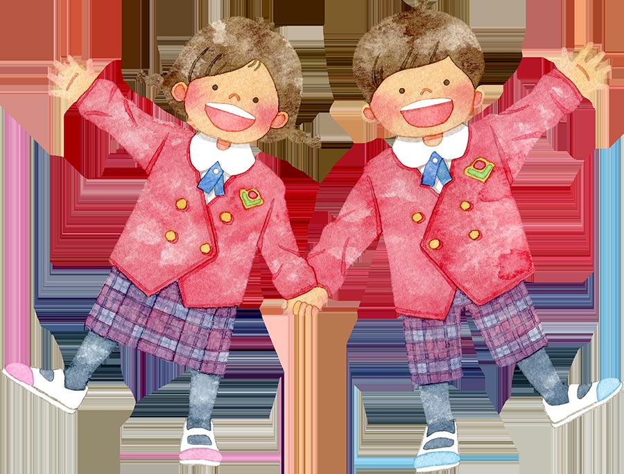 赤い制服を着て手をつなぐ笑顔の子供たちのイラスト