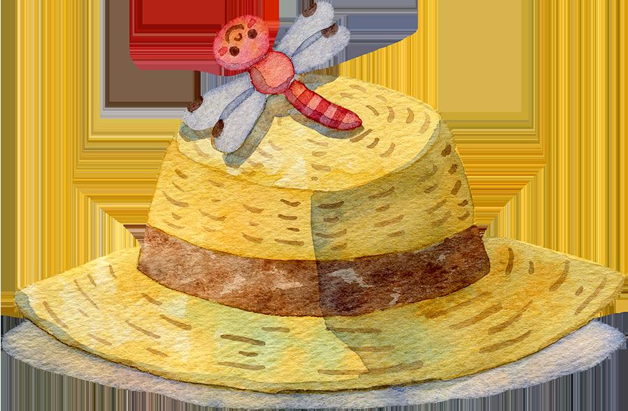麦わら帽子にとまる赤とんぼの水彩イラスト