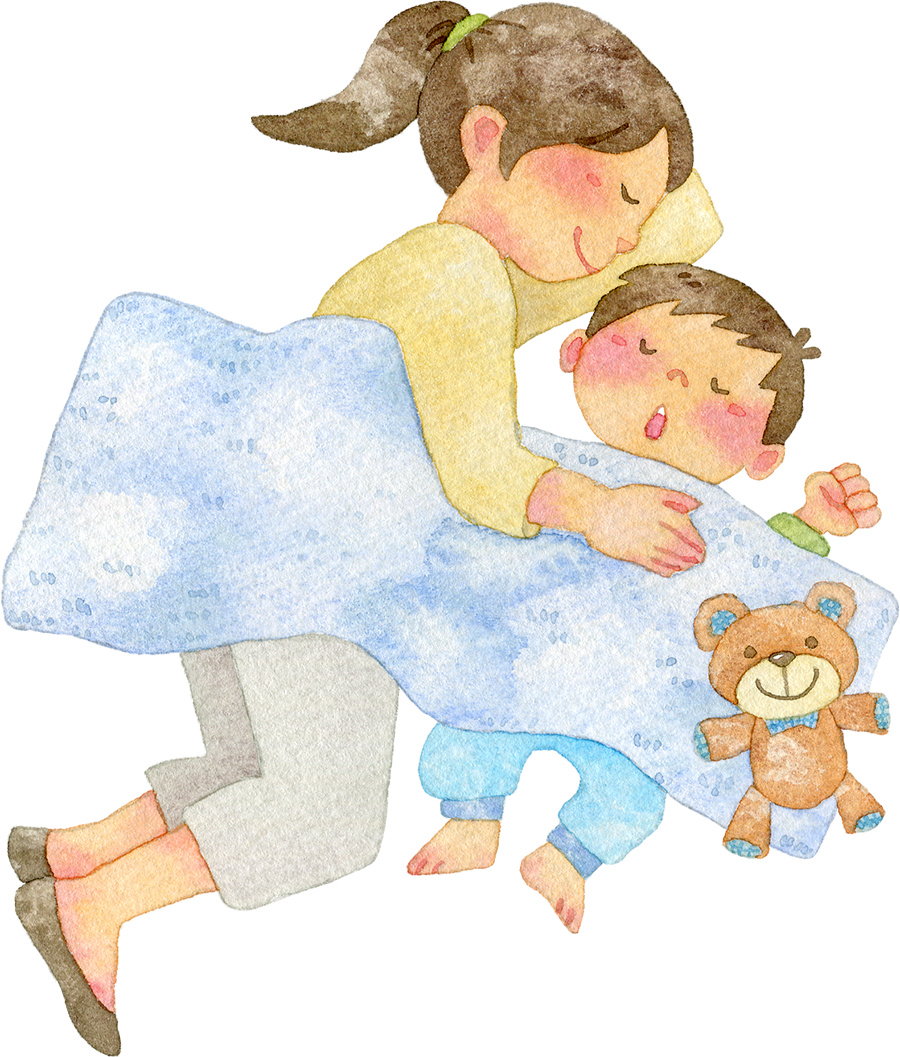 一緒に眠る親子の水彩イラスト