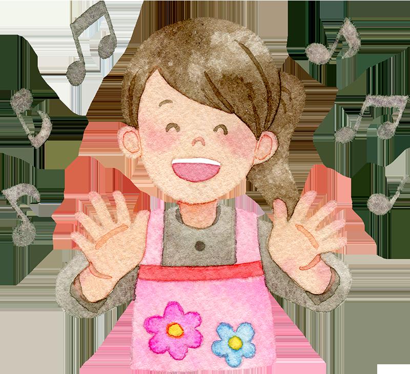 歌を歌う女性保育士の水彩イラスト