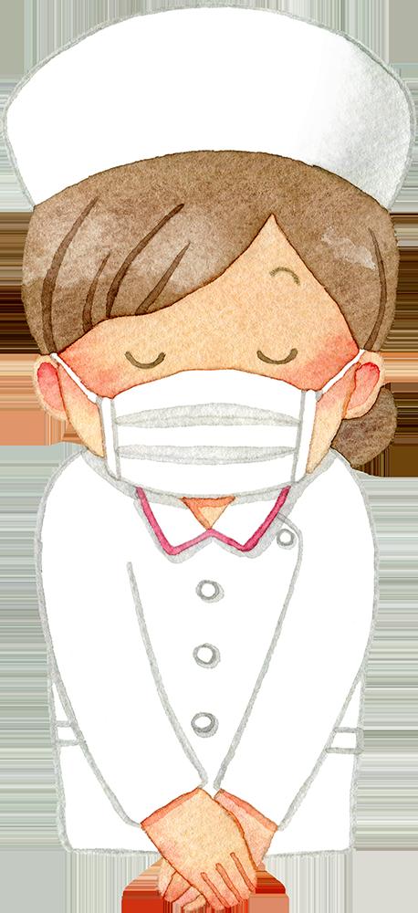 ②お辞儀をするマスクの女性看護師(上半身/ナースキャップ)