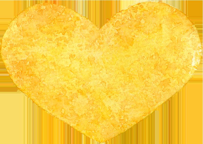 ④黄色のハートの水彩イラスト