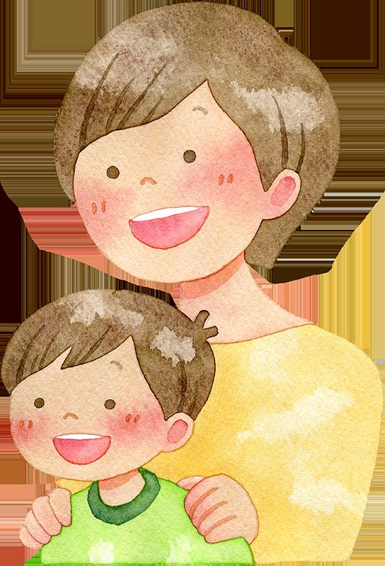 子供の肩に手を置く母親の水彩イラスト