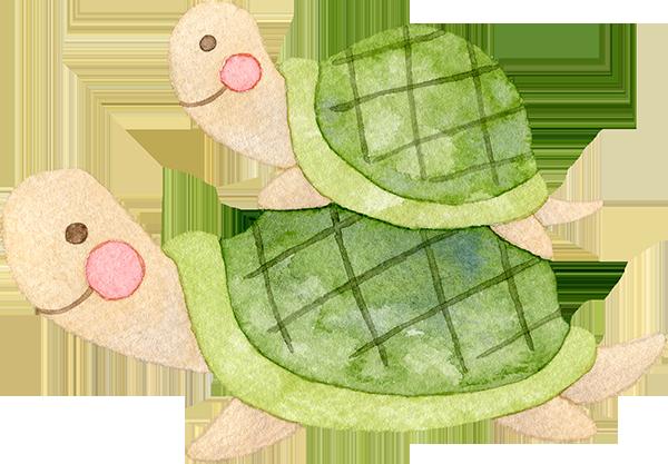 親亀の上に乗る子亀の水彩イラスト