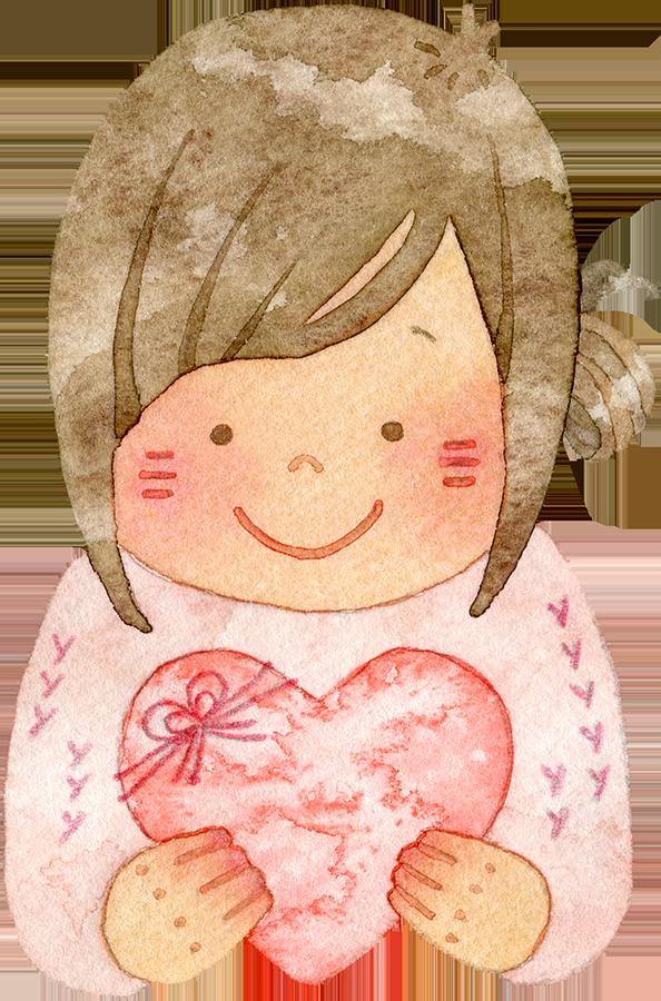 ハートを持つ笑顔の若い女性の水彩イラスト