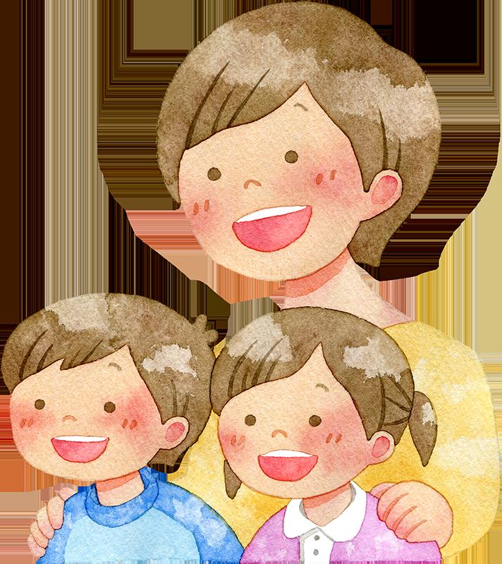 子供たちの肩に手を置く母親の水彩イラスト