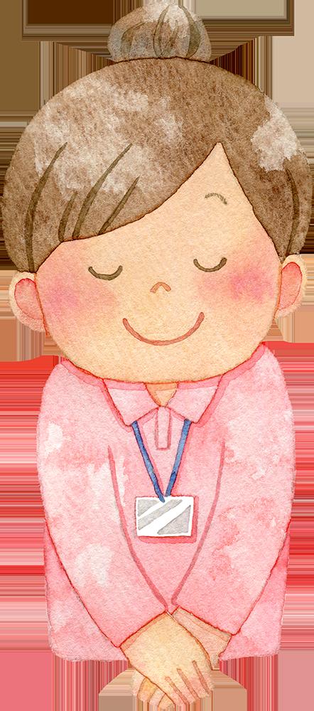 お辞儀をする女性介護福祉士の水彩イラスト