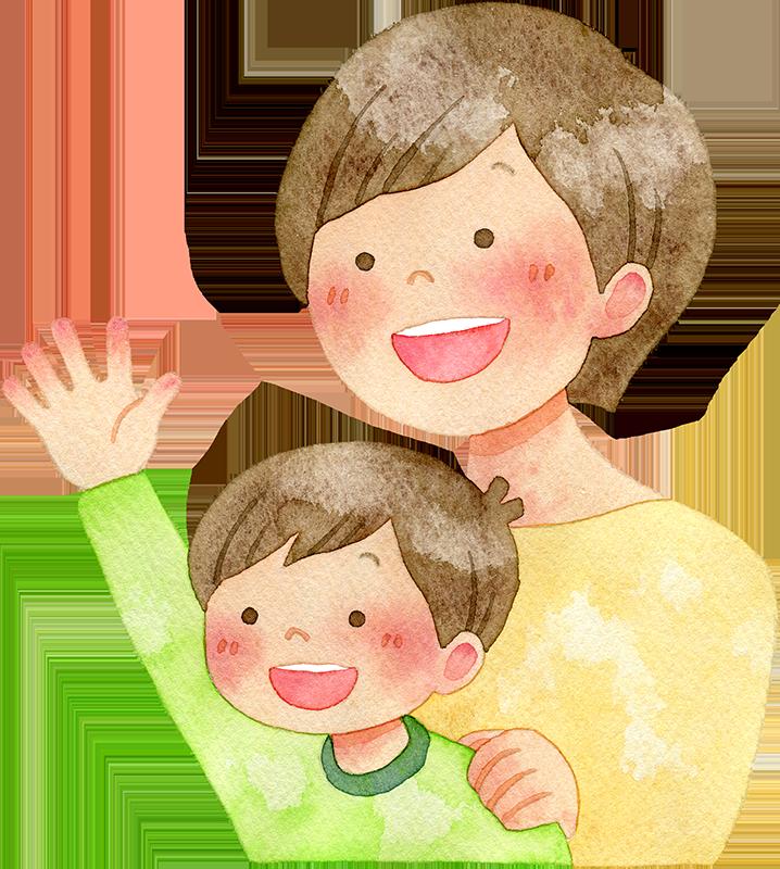 手を挙げる子供と母親の水彩イラスト