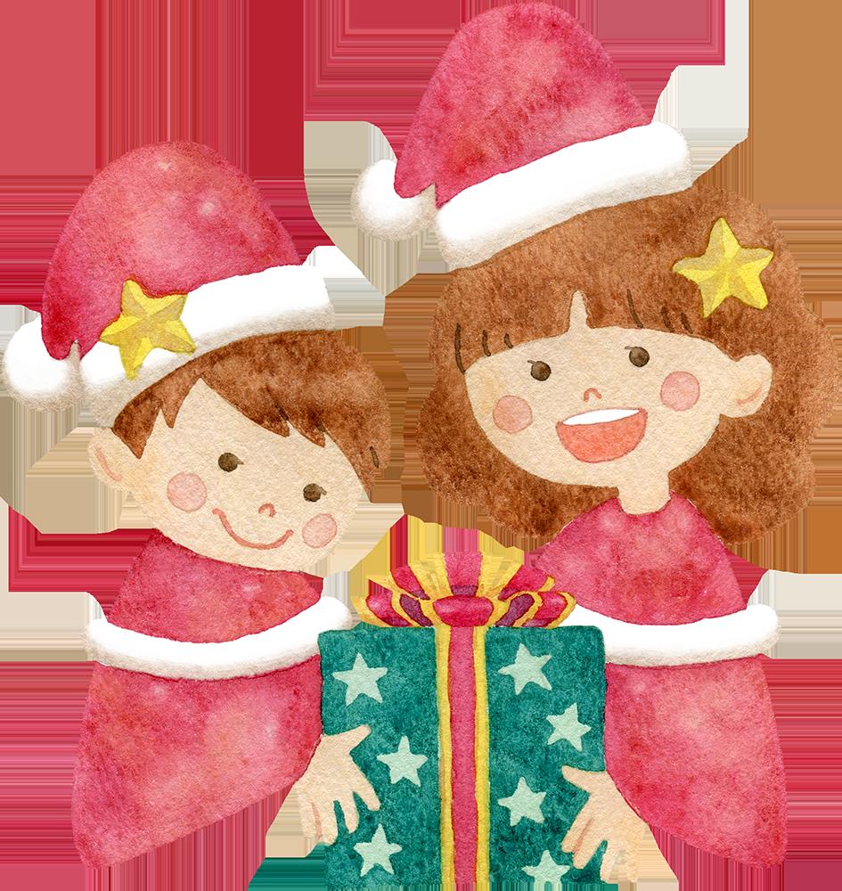 クリスマスプレゼントを持つ子供たちの水彩イラスト
