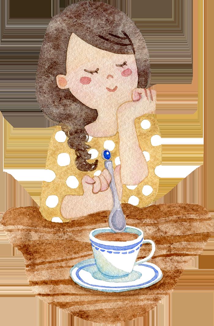 コーヒーを飲む女性の水彩イラスト