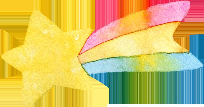 カラフルな流れ星の水彩イラスト