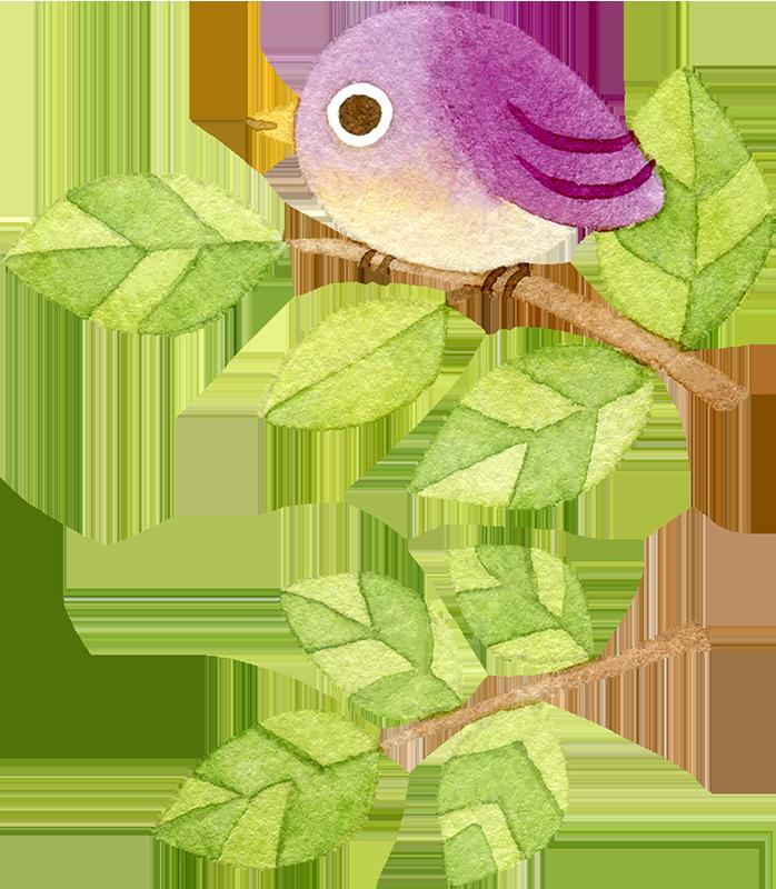 ②木の枝にとまる紫色の鳥の水彩イラスト