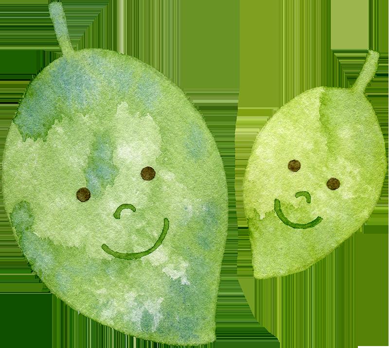 葉っぱの親子の水彩イラスト