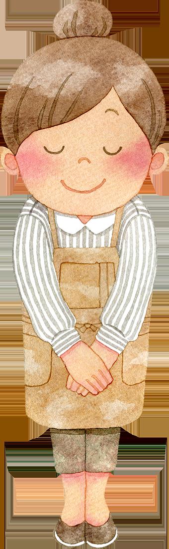 笑顔でお辞儀をするカフェのウエイトレス(全身)のイラスト