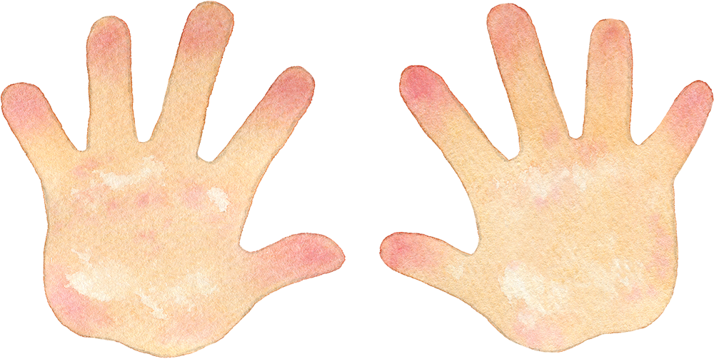 両手の水彩イラスト