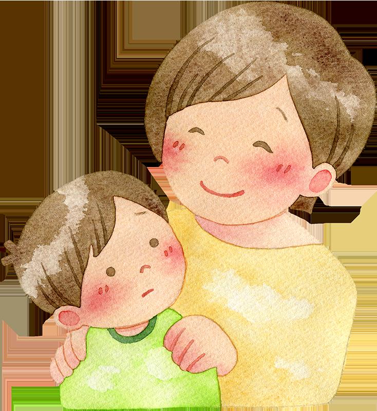 子供を励ます母親の水彩イラスト