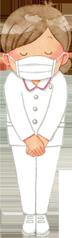 ③お辞儀をするマスクの女性看護師(全身)