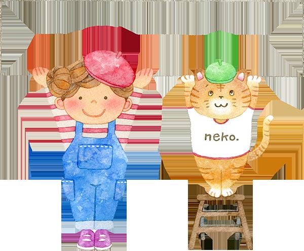カードを持つ猫と女の子の水彩イラスト