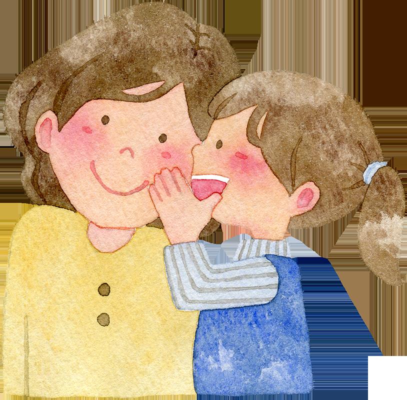 ないしょ話をする親子の水彩イラスト