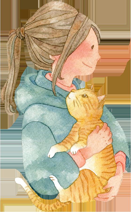 ネコを抱っこする横向きの女の子(上半身)の水彩イラスト