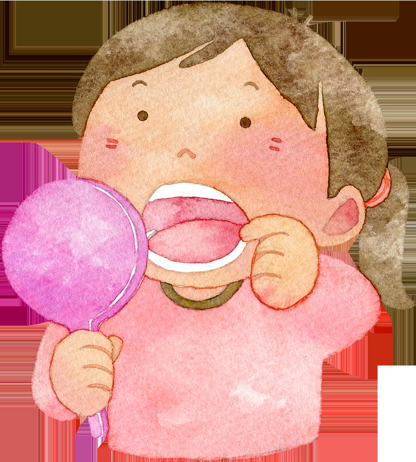 手鏡で口の中を見る女の子の水彩イラスト