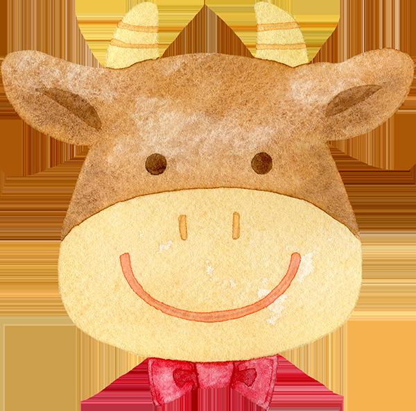 蝶ネクタイを付けた牛の顔の水彩イラスト