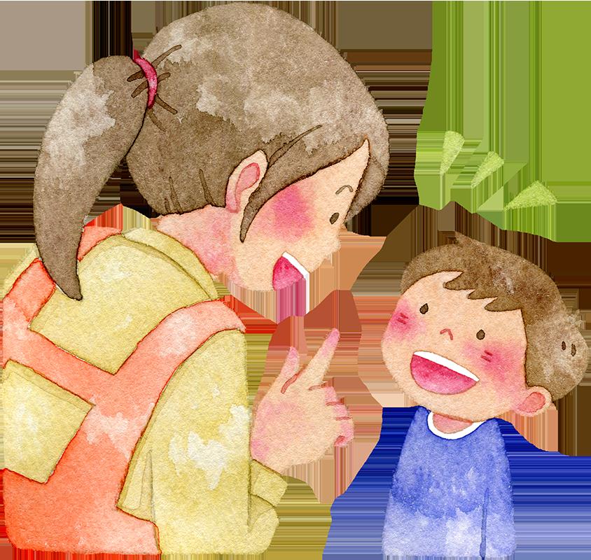 会話をする親子の水彩イラスト
