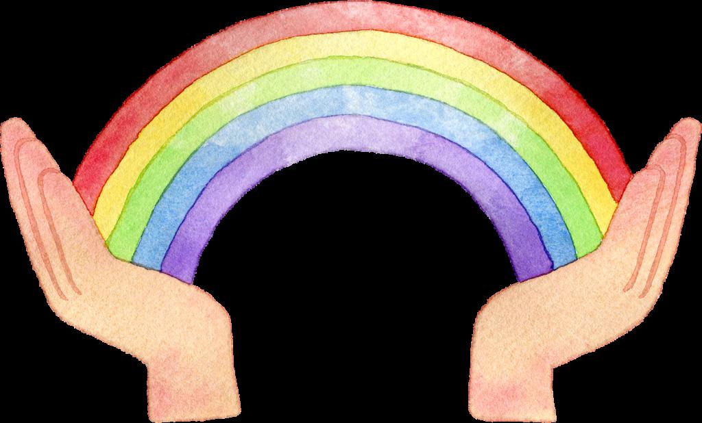 手と虹の水彩イラスト