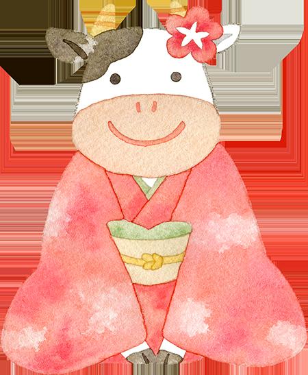②着物を着た牛