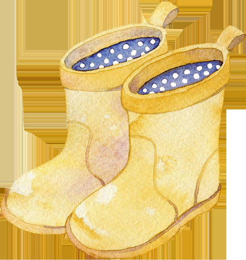 長靴の水彩イラスト