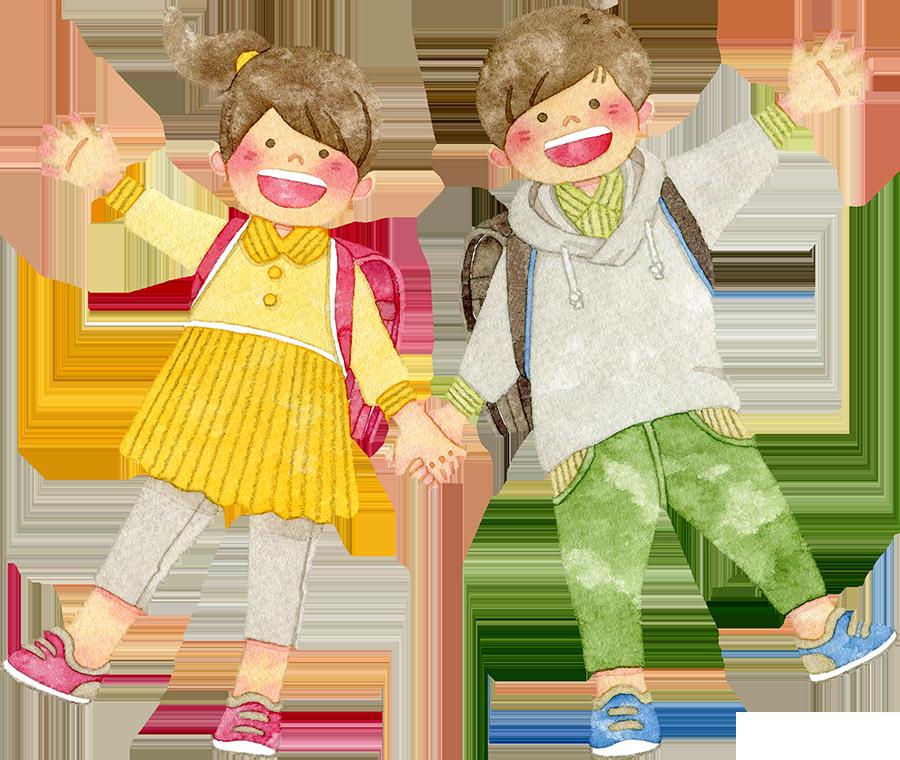 ランドセルを背負い手をつなぐ笑顔の子供たちのイラスト