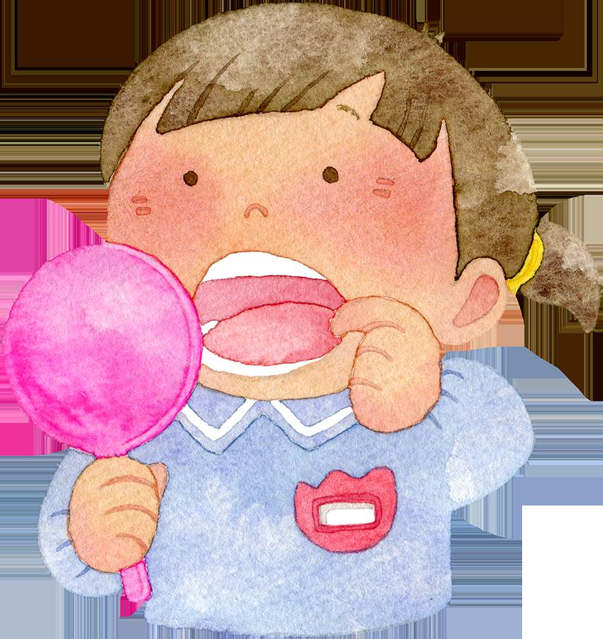 手鏡で口の中を見る園児(女の子)の水彩イラスト