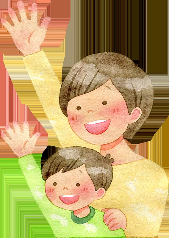 手を挙げる親子の水彩イラスト