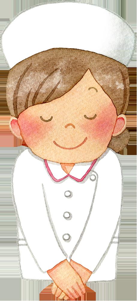 ②お辞儀をする女性看護師(上半身/ナースキャップ)