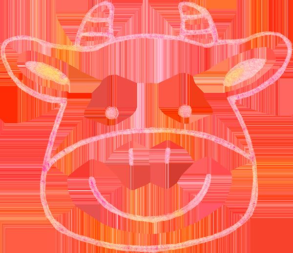 シンプルな牛の顔の水彩イラスト