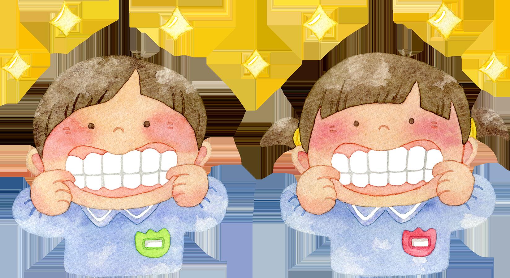 ピカピカの歯を見せる園児たちの水彩イラスト