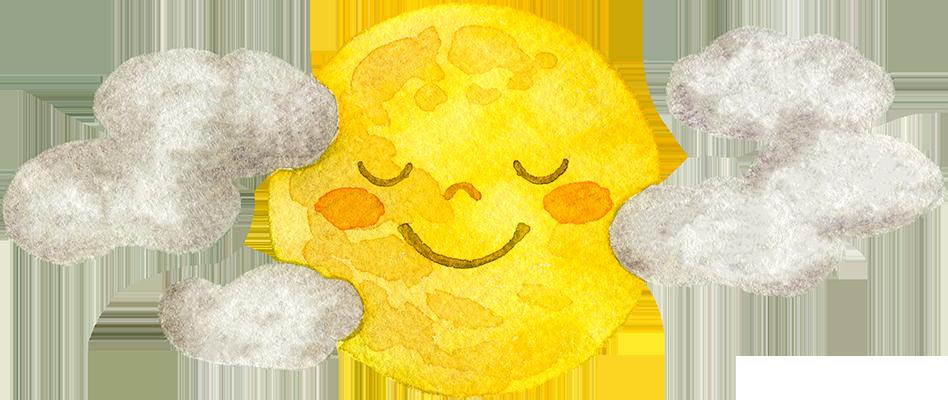 雲間から顔を出す満月の水彩イラスト(顔付き)