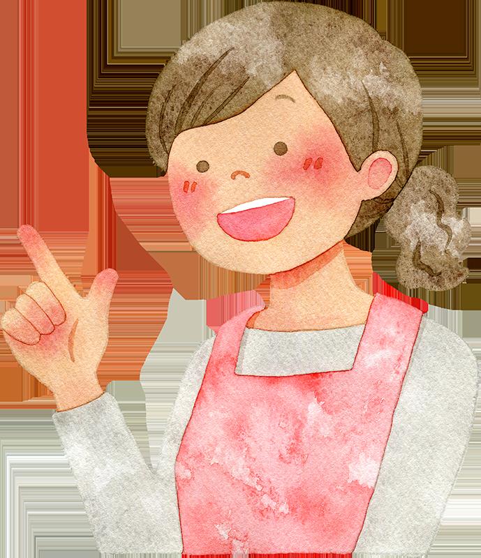 人差し指を立てる主婦の水彩イラスト