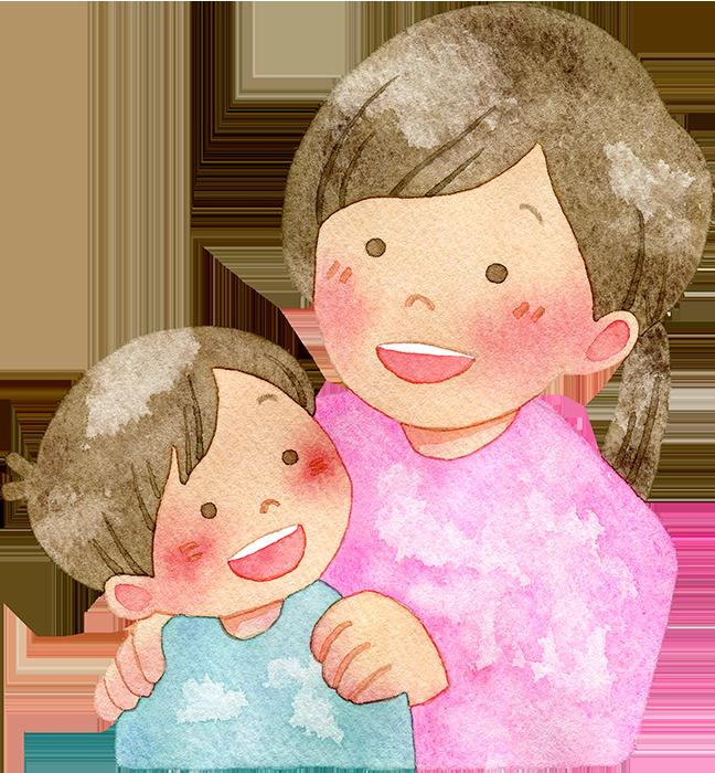 振り返る子供と母親の水彩イラスト