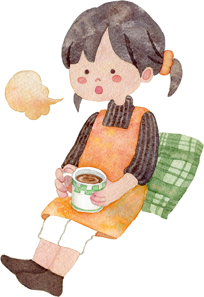 コーヒーを飲んでひと息つく女性の水彩イラスト