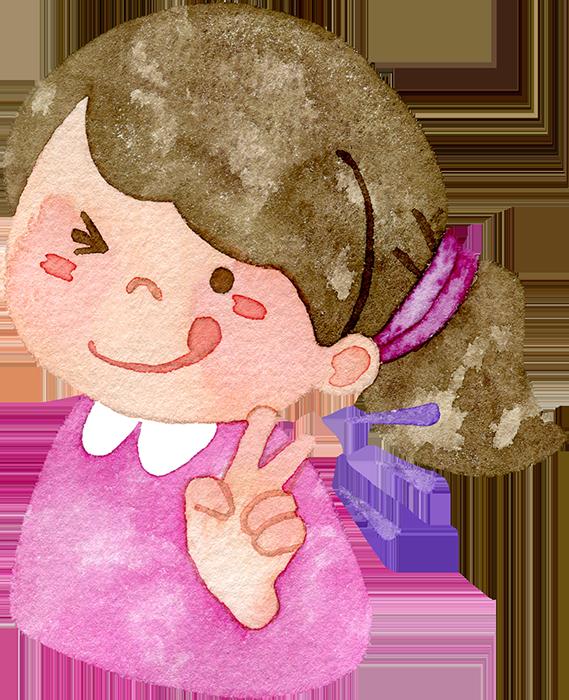 ピースをする女の子の水彩イラスト