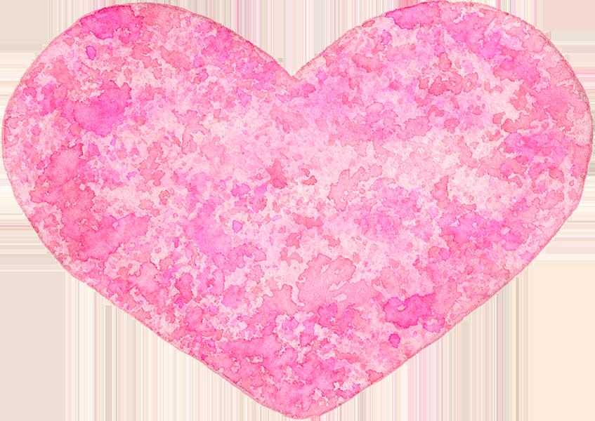 ①ピンクのハートの水彩イラスト