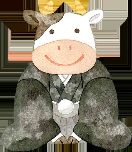 ①羽織袴を着た牛