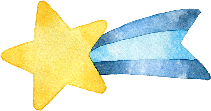 青色の流れ星の水彩イラスト
